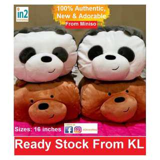 (Free Delivery) We Bare Bears Pillow Cushion Plush Hand Pillow Toy Doll Stuff Toy Sofa Decoration Soft Toy panda polar bear