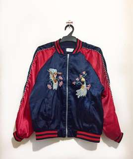 Red & Navy Embroidered Satin Bomber