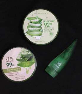 Nature Republic, The Face Shop, and Holika Holika aloe vera gel