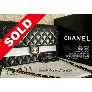 49. SOLD - MINT 100% CHANEL Black Quilted Lambskin CC Clasp Gold Chain 10 Flap Clutch Bag