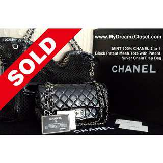 51. SOLD Authentic Chanel Black Patent Tote Flap Bag - 2 in 1 Mesh Tote with Silver Chain Bag