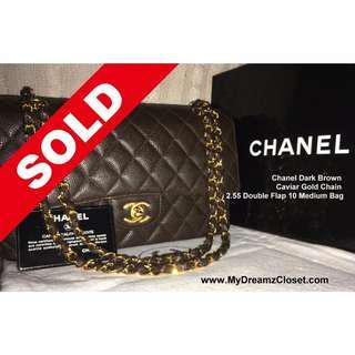 52. SOLD Authentic Chanel Brown Caviar Double Flap Bag - NEW Classic Dark Caviar Gold Chain 2.55 10 Medium Bag
