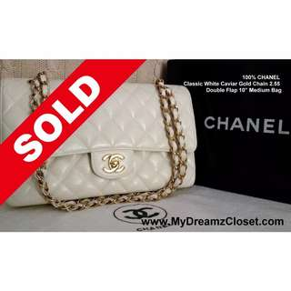 53. SOLD Authentic Chanel White Caviar Double Flap Bag - 100% Classic Gold Chain 2.55 10 Medium Bag