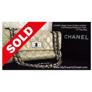 55. SOLD CHANEL Beige Taupe Quilted Lambskin 2.55 Reissue Ruthenium Chain 10 Flap Bag