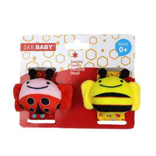 Cute Bee and Lady Bug Baby Wrist Rattle Set ( 2pcs )