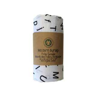 Modern Burlap Baby Muslin Swaddle / Breathable Multi-use Blanket