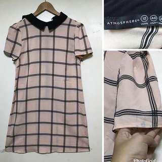 Atmosphere Grid Collared Dress