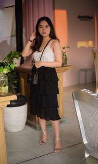 White black hitam putih dress gaun