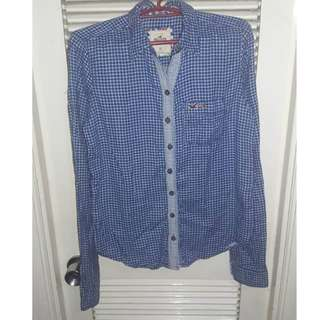 Auth Hollister checkered button down blouse
