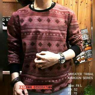 Baju Atasan Sweater Pria Cowok Tribal Series Warna Maroon Bahan Katun