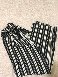 Wide legged striped dress pant