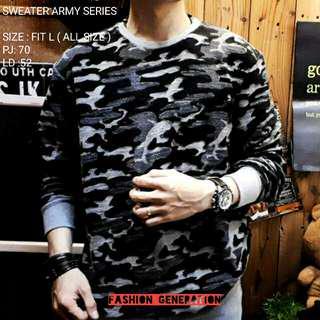 Atasan Sweater Pria Cowok Army Series Bahan Katun Ukuran Fit L