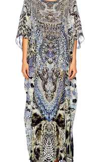 Camilla 'Hush Hush' long round neck Silk kaftan