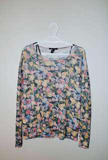 Forever 21 Floral Knit Long Sleeve Top