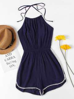 [SHEINSIDE] BLUE HALTER NECK PLAYSUIT