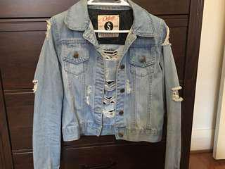 Light Blue Ripped Denim Jacket