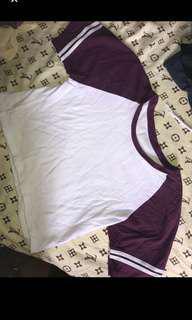 Violet varsity stripe sleeve crop top
