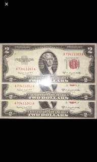 Rare US Dollars $2(Red Seal) 3 Running Numbers❗️