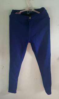 High waist royal blue jeans