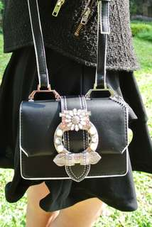 Handbag Korea Style  Black Bling 韓系 女裝 手袋 包包 潮型 閃爍 黑 熱賣 handbag sales hfdhkf