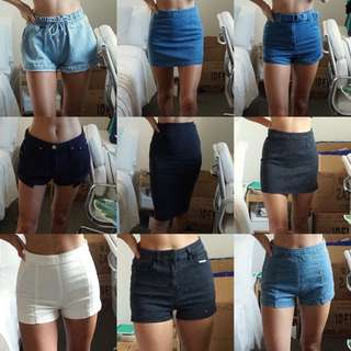 10 Piece Shorts Jeans and Skirts Bundle