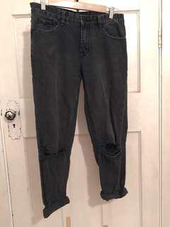 Res denim black wash mom jeans