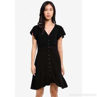 Cotton on button up dress black