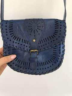 Blue Leather Festival Bag