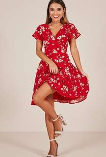 Showpo red floral wrap dress