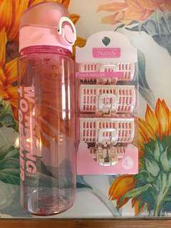粉色pink膠水樽+髮卷