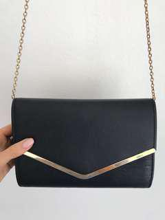 Collette Black and Gold Envelope Evening Clutch