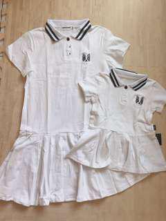 🚚 全新親子/母女白色短袖polo裙