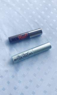 Too Faced Better Than Sex Waterproof and Benefit They're Real Mascara