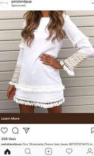 Pretty white cotton frill detail dress