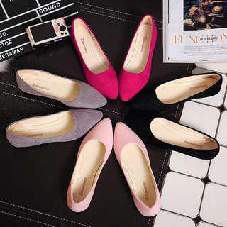 Baby Pink Pointed Flats