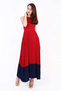 MGP Label Rochelle Pleated Maxi in Red