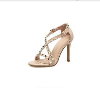 European nude rivet cross straps heels