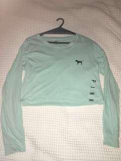 VICTORIA SECRET PINK CROPPED TURQUOISE TEE