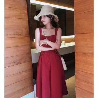 酒紅色背心排扣長洋裝