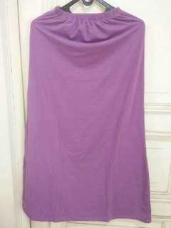 Rok Panjang Bahan Kaos Warna Lavender/ Candy Skirt Panjang