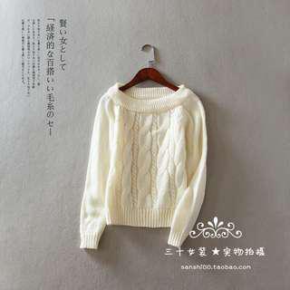 🚚 白色麻花針織上衣