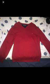 Tommy Hilfiger V neck sweater red
