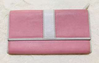 Authentic Coach Pink Trifold Crossgrain Leather Wallet