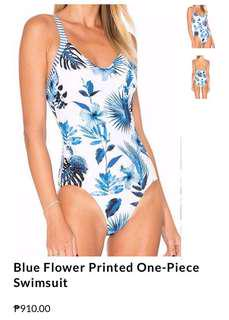 Blue Floral One Piece Monokini Swimsuit