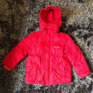 Red Girl's Thick Jacket with Detachable Hood for Winter