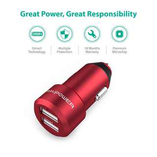 Durable Aluminum Alloy Coated Car Charger 24W by RAVPower RP-VC006