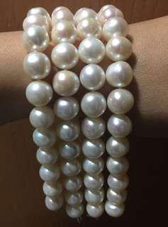 Alloy joint natural fresh water pearl bracelet 天然珍珠手鏈10mm