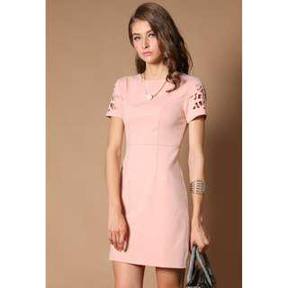 TSW Stan Cut Out Sleeves Dress in Blush Pink Size XS