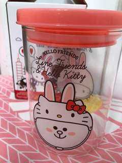 Line Friend hello kitty limited edition container jar cony brown sally