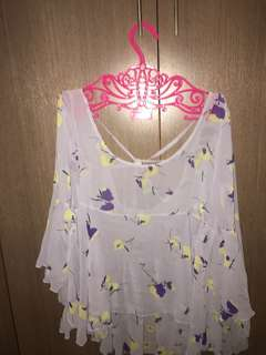 Blouse purple beach top casual flare